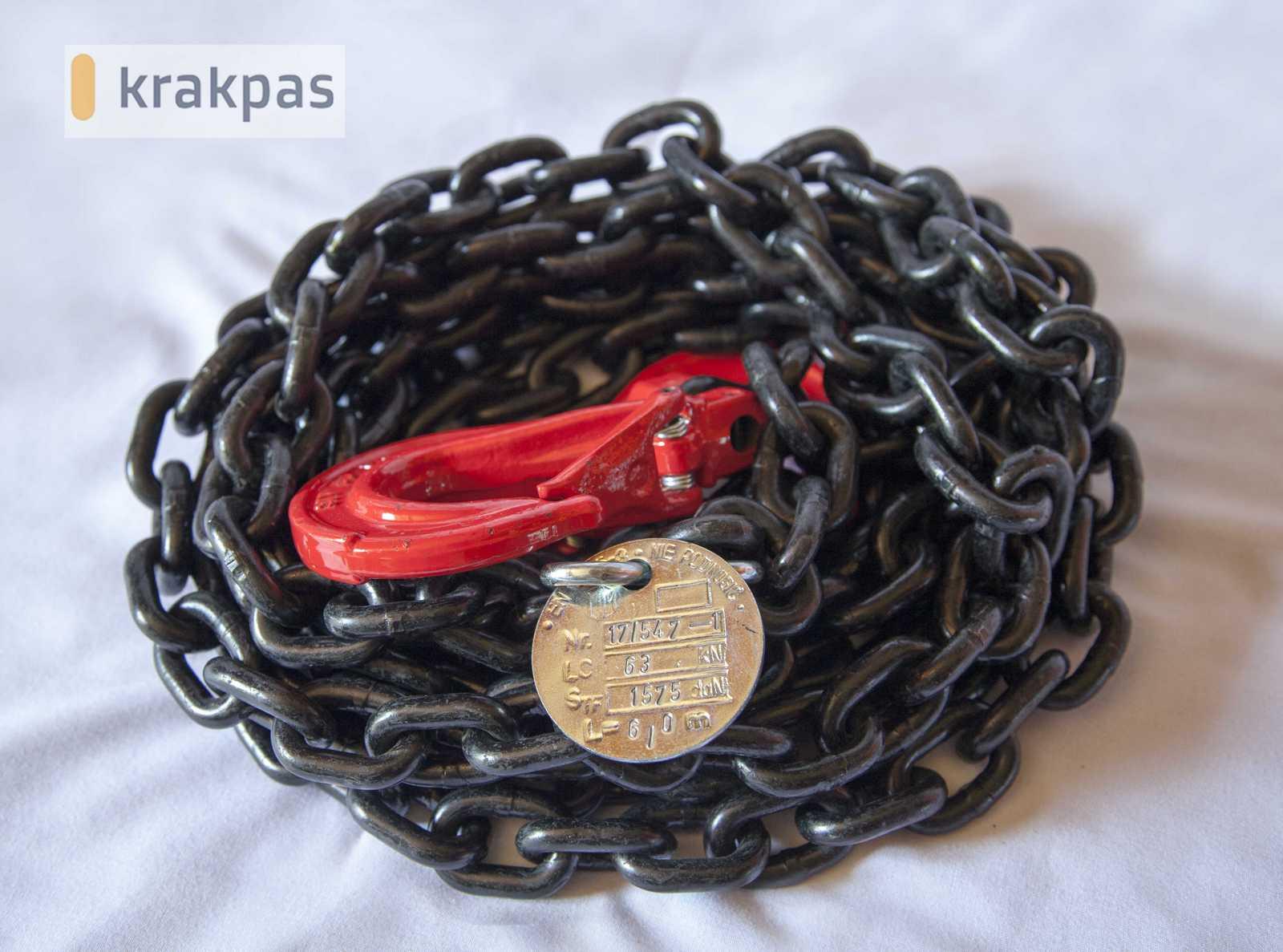 zawiesie łańcuchowe tabliczka znamionowa oraz hak